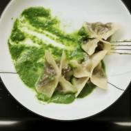 """Just go for it"" portobello-spinach Wontons"