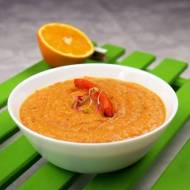 Zupa krem z pieczonej marchewki z mleczkiem kokosowym i sokiem z pomarańczy