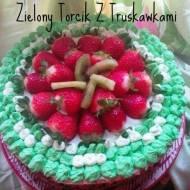 Zielony torcik z truskawkami