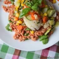 Morszczuk z warzywami i kaszą pęczak
