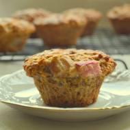 Pełnoziarniste muffiny cytrynowo- imbirowe z rabarbarem (bez cukru)