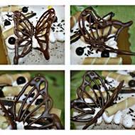 Motyle z czekolady do dekoracji tortów i ciast.