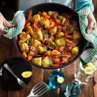 Młode ziemniaki z marchewką, szynką szwarcwaldzką w cytrynowej nucie- z patelni