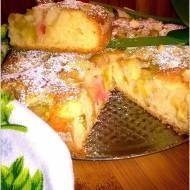 Rabarbarowo-jabłkowe ciasto waniliowe. Szybkie ciasto na oleju rzepakowym.