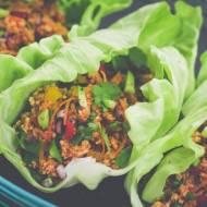 Paleo tacos, wrapy z mięsem indyczym.