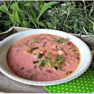 Zupa botwinka ze szpinakiem i liśćmi rzodkiewki