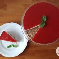 Jogurtowy sernik na zimno z musem truskawkowo-rabarbarowym