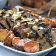 Pieczeń wołowa z suszonymi grzybami