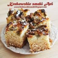 Szybkie ciasto z rabarbarem, białą czekoladą i kokosem