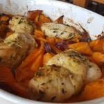 Pieczona pierś kurczaka z batatami