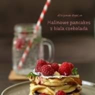 Malinowe pancakes z białą czekoladą