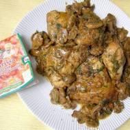 porcje kurczaka na ostro z pieczarkami...