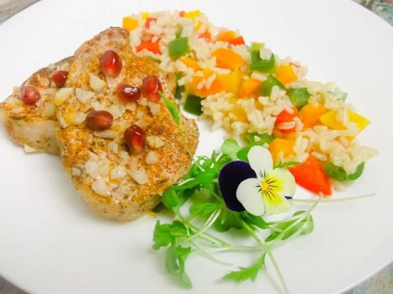Schab na parze z ryżem pełnoziarnistym jaśminowym