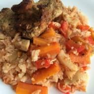Indyk pieczony z ryżem i warzywami