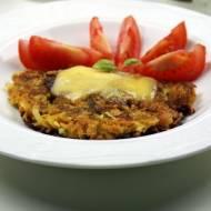 Placki ziemniaczane z batatami i cukinią, zapiekane z żółtym serem