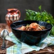 Zupa pomidorowa z dorszem i krewetkami