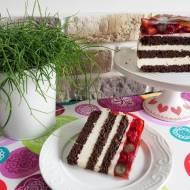 Tort czekoladowo-serowy z owocami i galaretką
