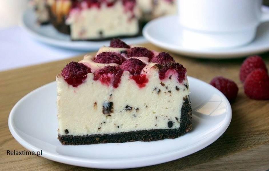 Ciasto na niedzielę szybkie i łatwe #7 Sernik straciatella z malinami