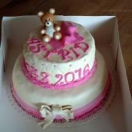 Dwupiętrowy tort na chrzciny dla dziewczynki