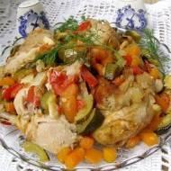 kolorowe jesienne warzywa w kurczaku z rękawa...