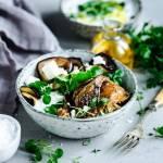 Grillowany bakłażan zapiekany z ryżem basmati, kurczakiem, świeżymi figami i papryką