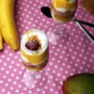 Owocowy deser z mango, malin i pierniczków