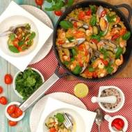 Paella z quinoną, małżami i krewetkami!