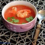 Zupa kokosowo - pomidorowa z czerwonymi krewetkami