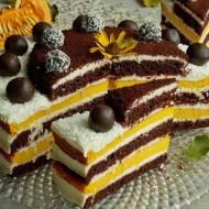 Tort czekoladowy z sernikiem dyniowym