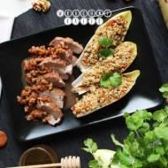 Polędwiczka wieprzowa na sposób orientalny podana z kaszą bulgur