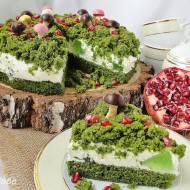 Ciasto leśny mech z galaretką i grzybkami