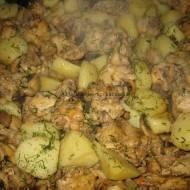 Kurczak pieczony z pieczarkami i ziemniakami