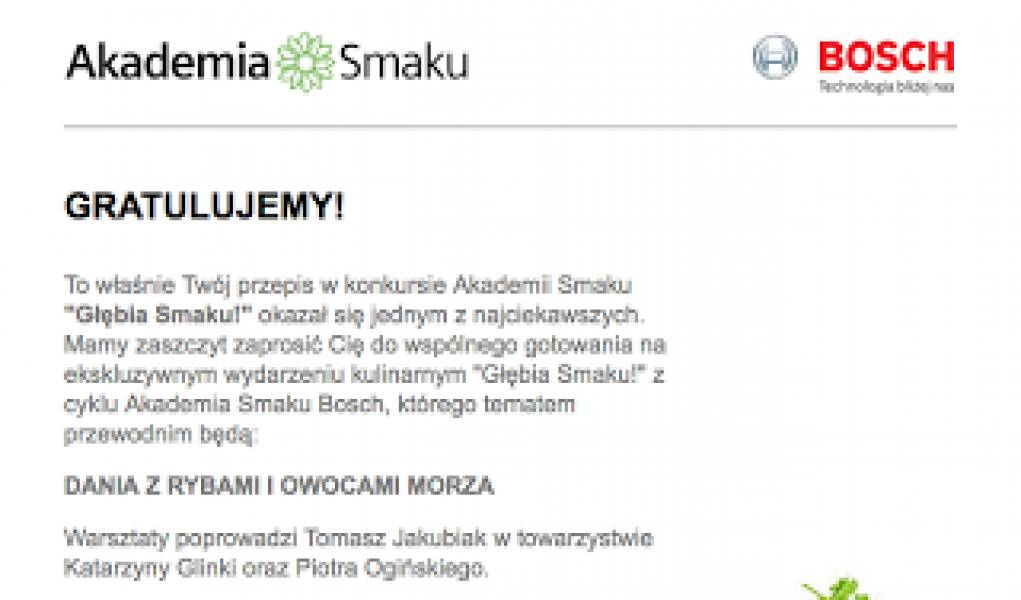 Wygrałam w konkursie Akademii Smaku i Bosch :)