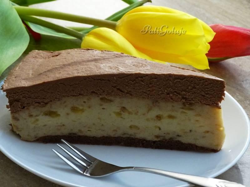 Ciasto z masą bananową z musem czekoladowym