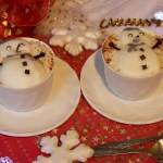 Zimowa kawa z bałwankiem