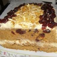 pyszne ciasto marchewkowo-pomarańczowe z żurawiną i z kremem z serka homogenizowanego...