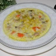 Zupa porowa z mięsem mielonym