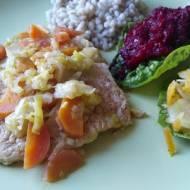 Schab w sosie marchewkowo - porowym
