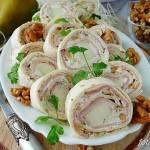 Roladki z tortilli z szynką gruszką i orzechami