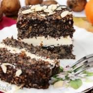 Ciasto makowe z czekoladą, migdałami i kremem mascarpone (tort)