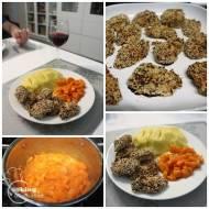 Kurczak pieczony w sezamie i siemieniu lnianym oraz słodka gotowana marchewka