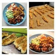 Kurczak w ziołach, frytki z batatów w chrupiącej parmezanowej skorupce z warzywami i sosem orzechowym