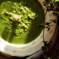 Zupa z zielonego grochu, quinoy i natki marchewki (bez glutenu, bez laktozy, wegańskie)