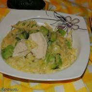 Risotto z ogórkiem, awokado i kurczakiem