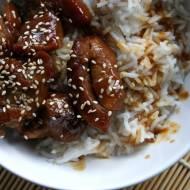 Indyk w sosie teriyaki z ryżem