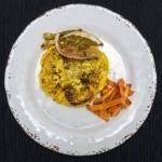 Stek z kalafiora / chipsy z liści / frytki z batatów