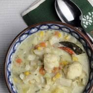 zupa kalafiorowa z mleczkiem kokosowym i kukurydzą