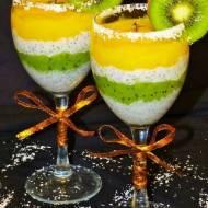 Pudding kokosowy z chia, musem z mango i kiwi
