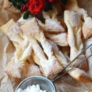 Faworki z ciasta francuskiego (z piekarnika)