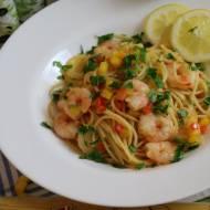 Spaghetti z Krewetkami i Mango
